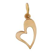 Кулон Сердце, контур сердца, красное золото 585 проба