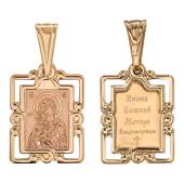 Владимирская в резном окладе, алмазная обработка, красное золото, высота 15 мм