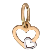 Кулон Сердце с маленьким сердцем на контуре, красное золото, высота 7мм ширина 8мм