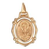 Семистрельная в резном овальном окладе, алмазная обработка, красное золото, высота 23 мм