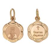 Святая Людмила в фигурном окладе из 6-ти лепестков, красное золото, высота 14 мм