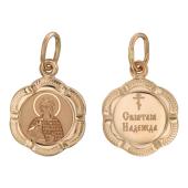 Святая Мученица Надежда в фигурном окладе из 6-ти лепестков, красное золото, высота 14 мм