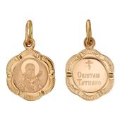 Святая Татьяна в фигурном окладе из 6-ти лепестков, красное золото, высота 14 мм