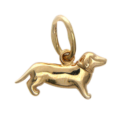 Кулон Собачка Такса, красное золото