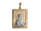 Владимирская в прямоугольном окладе с белой фигуркой, красное золото, высота 24 мм