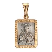 Золотая подвеска (кулон) Николай Чудотворец, прямоугольный оклад, Святитель Николай, моли Бога о нас, высота 17 мм