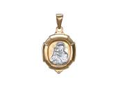 Владимирская в овальном окладе с белой фигуркой, красное золото, высота 20 мм