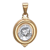 Ангел Хранитель в овальном окладе с белой фигуркой, красное золото, высота 16 мм