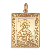 Господь Вседержитель в прямоугольном окладе с растительным орнаментом, красное золото, 585 проба, высота 23 мм