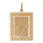 Казанская икона Божьей Матери в прямоугольном окладе с растительным узором, красное золото, высота 23 мм