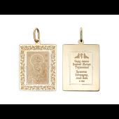 Тихвинская Икона Божьей Матери в прямоугольном окладе с растительным узором, красное золото