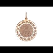 Господь Вседержитель в круглом окладе с растительным узором, красное золото, диаметр 23 мм