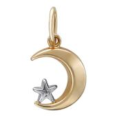 Кулон Полумесяц гладкий и звезда с родированием, красное золото 1.3 см