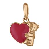 Кулон Мишка Тедди с сердцем из красной эмали, красное золото