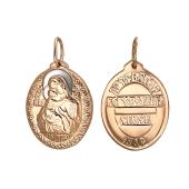 Владимирская икона Божьей Матери в овальном окладе, красное золото