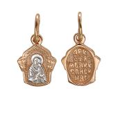 Казанская икона Божией Матери в фигурном окладе с куполом, красное золото