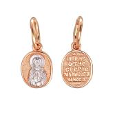 Святой преподобный Сергий Радонежский в овальном окладе, красное золото