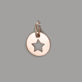 Кулон круглый монетка Звезда, красное золото