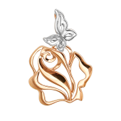 Кулон Роза с бабочкой, красное золото с родированием