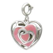 Кулон Чистое Сердце с сердечками и розовой эмалью, белое золото