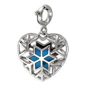 Кулон Холодное Сердце со снежинкой, голубая эмаль, белое золото
