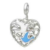 Кулон Свободное Сердце с голубями, голубая и белая эмаль, белое золото