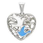 Кулон Сердце, внутри два голубка, белое золото. Высота: 10 мм Ширина: 12 мм