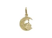 """Кулон """"Полумесяц"""" с восточным узором и Мечеть, желтое золото 1.6 см"""