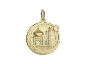 """Кулон """"Полумесяц"""" и Мечеть, желтое золото 2.8 см"""