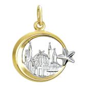 Кулон Полумесяц со звездой и мечетью, желтое золото и родирование