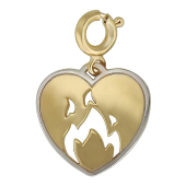 Кулон Горячее Сердце с пламенем, желтое золото