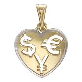 Кулон Щедрое Сердце, внутри знак доллар евро и юань, желтое золото