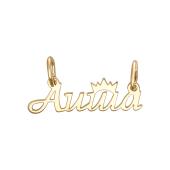 Кулон именной Аиша с короной, желтое золото