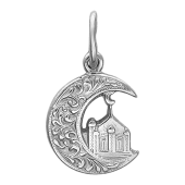 Кулон Полумесяц с мечетью и узорами, серебро