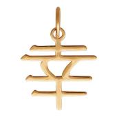 Подвеска иероглиф Удача из серебра 925 пробы с позолотой