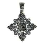 Крест равносторонний с узором и ангелами, серебро
