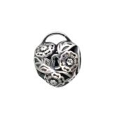 Шарм Сердце на замке с маргаритками из серебра с чернением