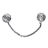 Подвеска Шарм для браслета, двойной стопер ажурный с цепочкой из серебра с чернением