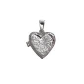 Подвеска Сердце открывающиеся с узором, серебро