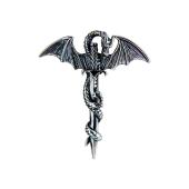 Кулон Дракон с мечем, серебро и чернение