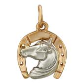 """Кулон """"Подкова"""" с головой лошади, красное и белое золото, размер: 1.5 см, с ушком 2.3 см"""