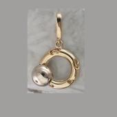 Подвеска Небо с вращающимся гладким шариком на круге с узором сердце, желтое и белое золото 585 проба