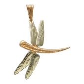 Кулон Стрекоза, комбинированное золото, 585 проба