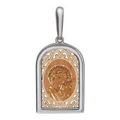 Казанская Икона Божьей Матери в окладе с куполом и узорами, красное и белое золото