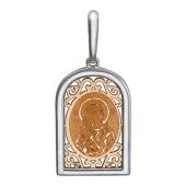 Владимирская Икона Божьей Матери в окладе с куполом и узорами, красное и белое золото на обратной стороне написано