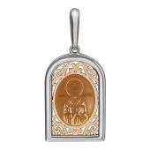 Николай Чудотворец в фигурном окладе из белого и красного золота