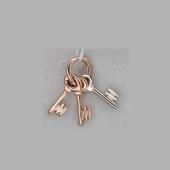 Кулон Три Ключика, амбарный ключ, красное и белое золото