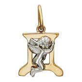 Буква Д из красного золота с ангелом из белого золота