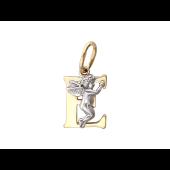 Буква Е с ангелом, желтое и белое золото