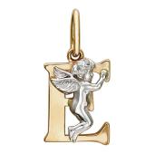 Буква Е с ангелом, красное и белое золото